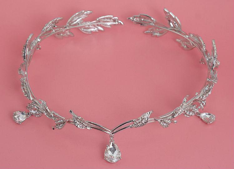Vintage Crystal Bridal Hair Accessory Wedding Rhinestone Waterdrop Leaf Tiara Crown Headband Frontlet Bridesmaid Hair Jewelry (2)