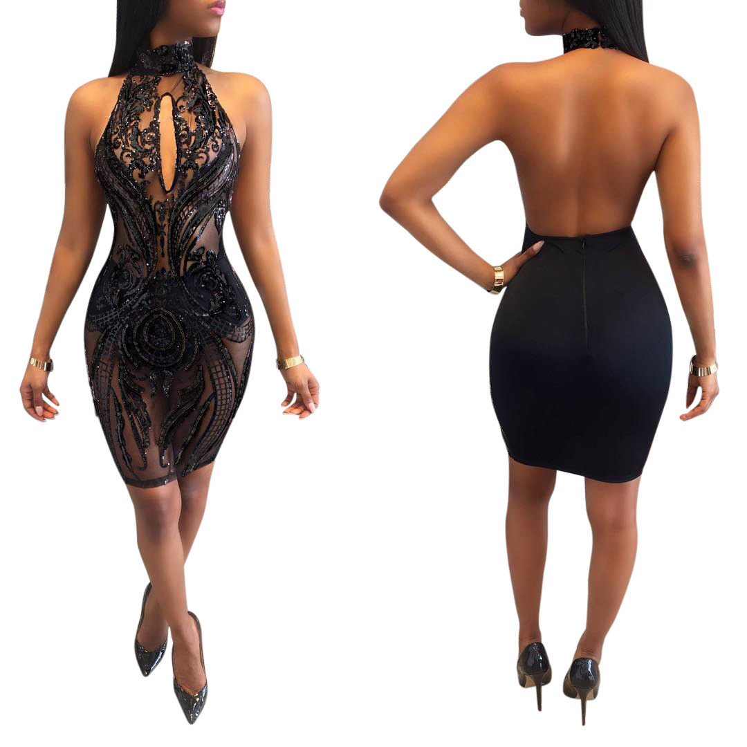 Women Sexy Club Sequin Dress Lady Black Halter Backless See Through Hollow Out Paisley Pattern Party Mini Bodycon Dress