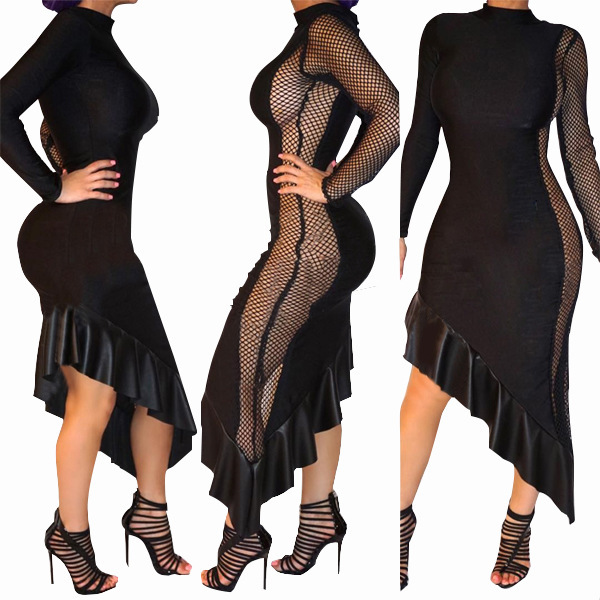 Goods In Stock European Sexy Just Long Sleeve Night Club Maxi Dress Lace Women Clubwear Womens Dresses Black Cocktail Clothes