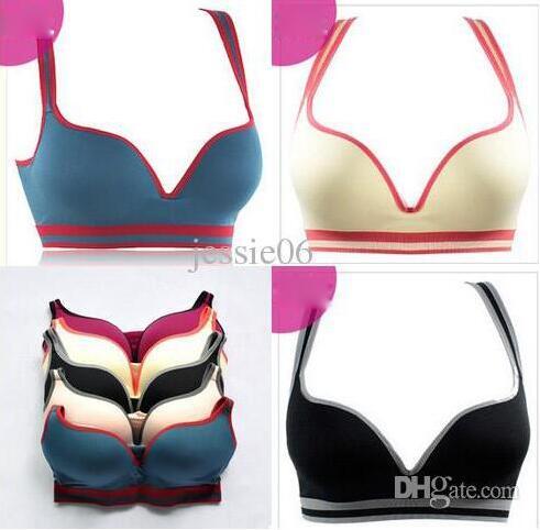 Womens Seamless Anti-sagging Cotton Sports Bra Removable Yoga Fitness Bralette Y