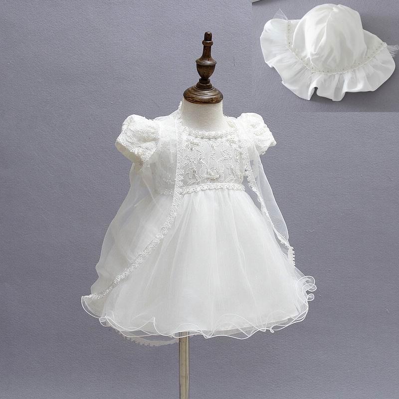 Little Girls Cap Sleeve Embroidered Mesh Baby Christening Dresses
