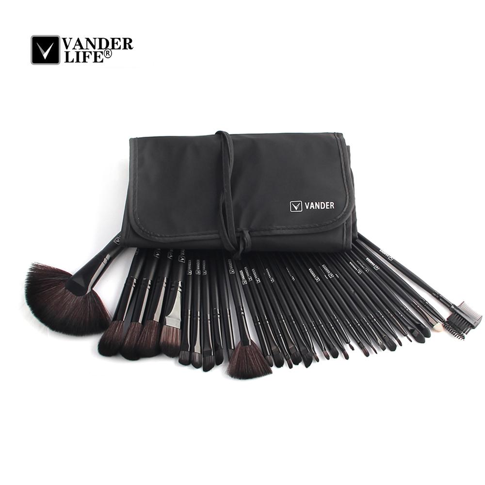 32pcs Makeup Brushes Set Black Wood Handle Eye Foundation Powder Eyeshadow Eyeliner Blush Brush Make Up Cosmetic Tools Kit (3221)