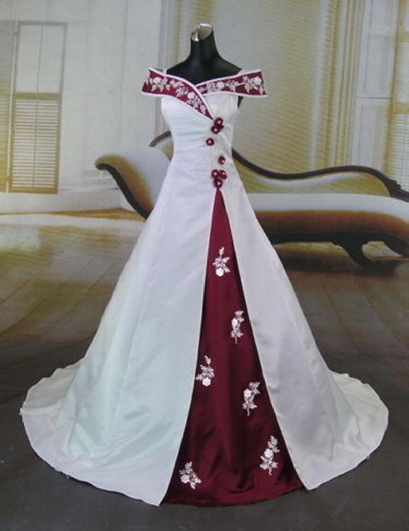 Heiße Entwurfs-weiße und rote Brautkleider schulterfrei Blumen Applique  Satin A-line Brautkleider vestido de noiva Gewohnheit W15
