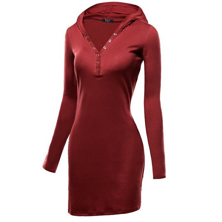 2016 Autumn Fashion Casual Women Suit-dress Solid Color Hooded Hat Knitting Long Sleeve Dress Bodycon Cheap For Dresses