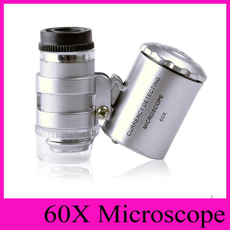 Rouku Microscopio Mini port/átil Tama/ño 60X Microscopio port/átil Lupa Detecci/ón de Moneda con LED y luz UV