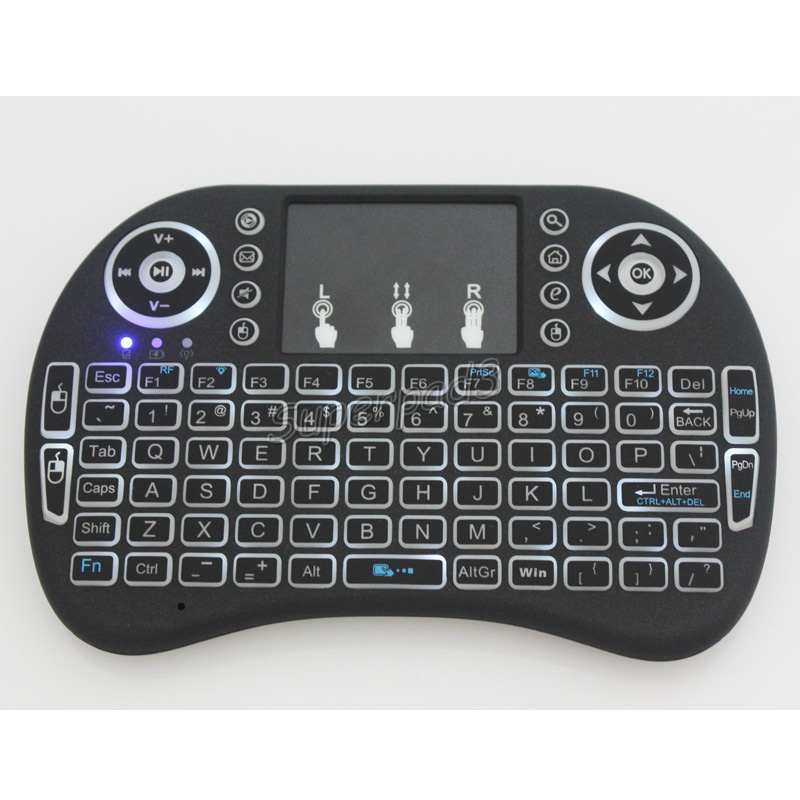 Color: English Spanish Calvas Wireless Keyboard Remote Controller 3 In 1 Design IR Learning Backlight Mini Keyboard For Android Tv Box//PC