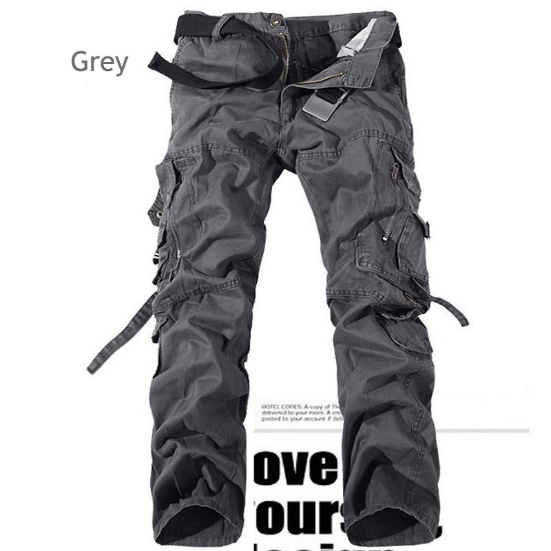 GRMO Men Vintage Multi-Pocket Solid Outdoor Cargo Jogger Pants
