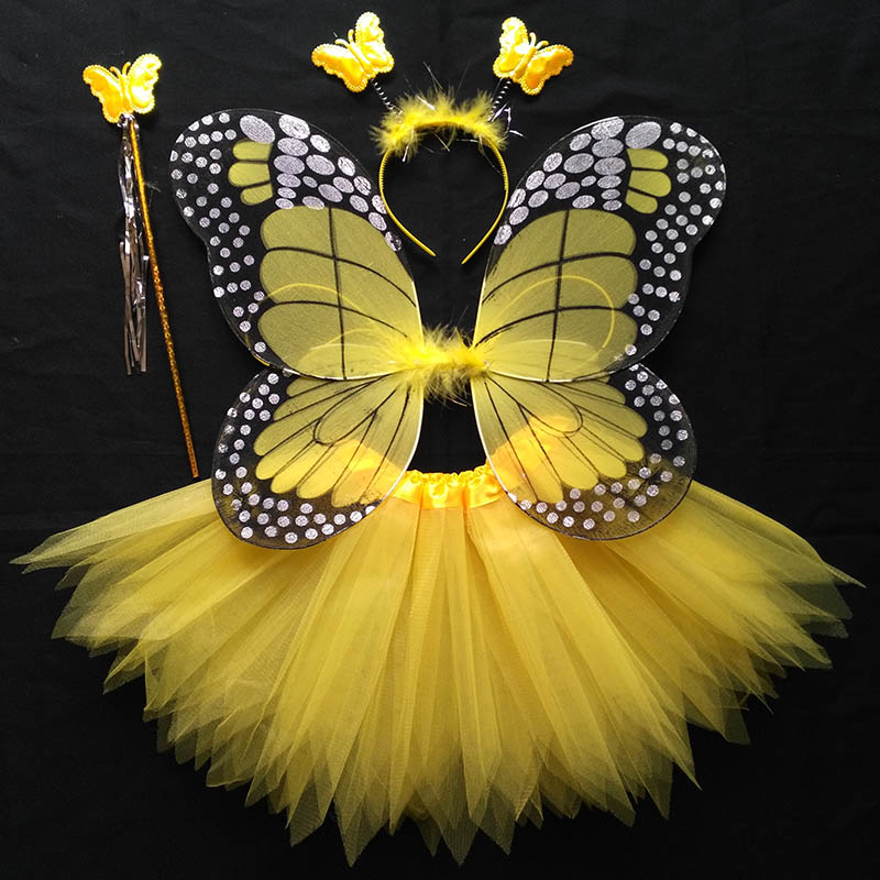 Coshome Children Butterfly Cosplay Princess Costumes Baby Boys Girls Kids Stage Performance Wings+Skirt+Headdress+Wands 4pcsSet (7)