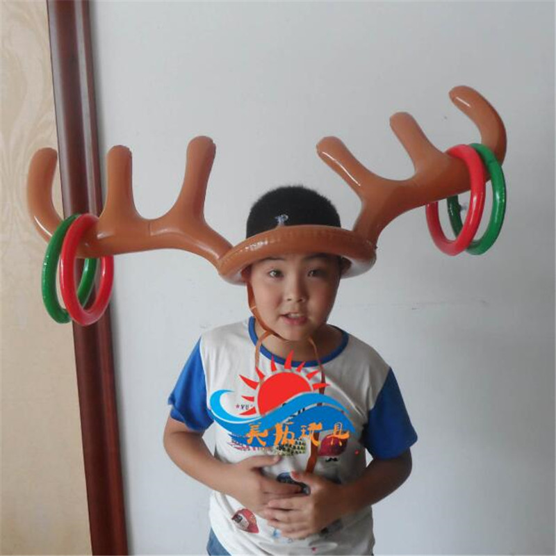 Aufblasbare rentier geweih ring hut werfen spiel spielzeug für kinder kinder weihnachtsdekoration urlaub partei neuheit spiel versorgung