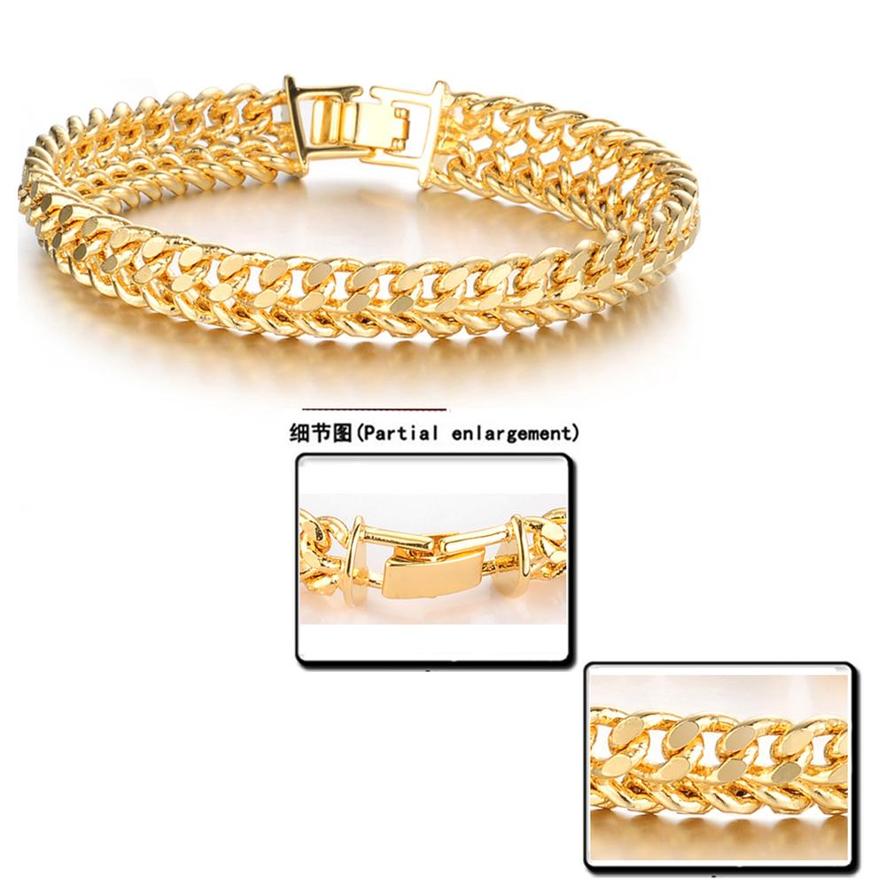 Opk Jewellery Cool Man 18k Gold Gp Bracelet Chain Bracelets For Men Never  Fade Antiallergy Wide Surface 11mm Free Shipping 158