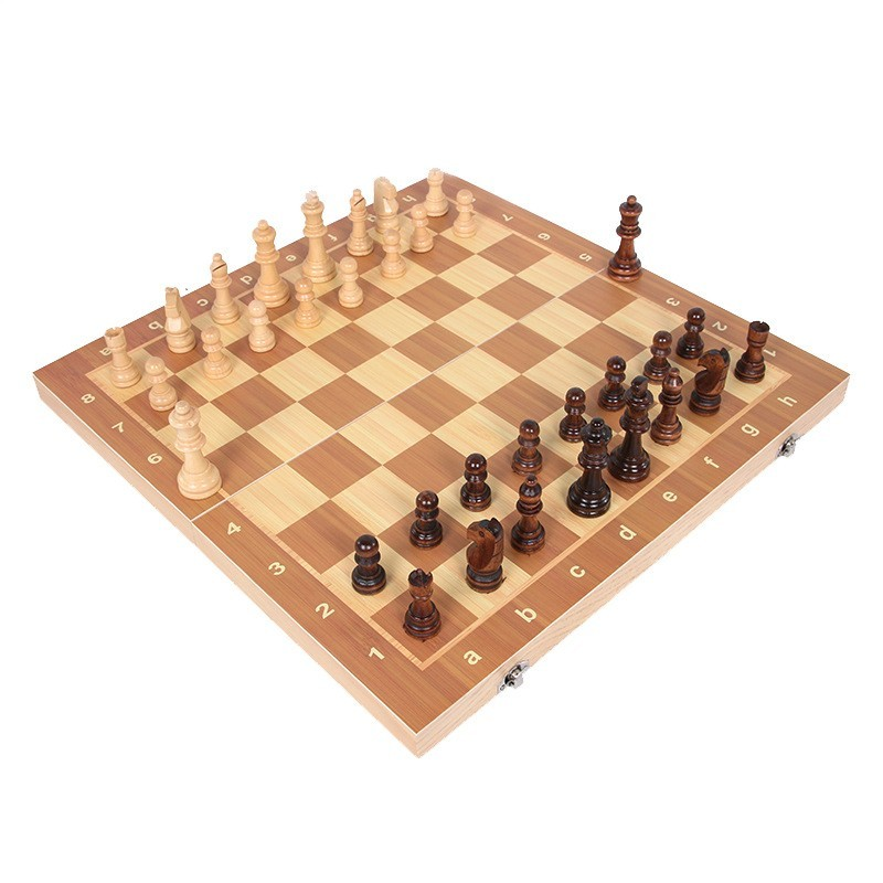 Wooden chess game with chess folding International Chess (6)