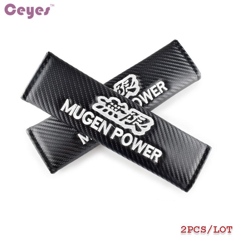 2x carbon fibre seat belt cover shoulder pads for MUGEN mod HONDA UK stock