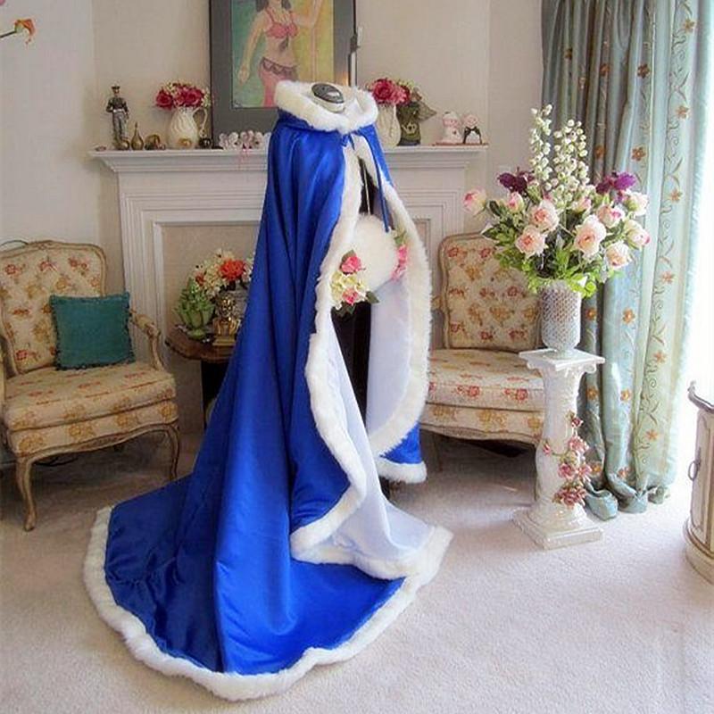 2017 Bridal Winter Wedding Cloak Cape Hooded with Fur Trim Long Bridal Winter