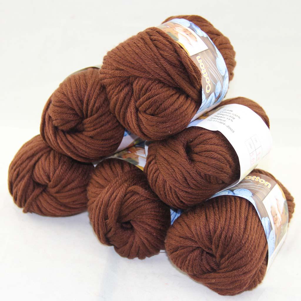 Lote de 3 X 50g bolas de algodón suave gruesa de lana peinada especial hilo de ganchillo beige 2231