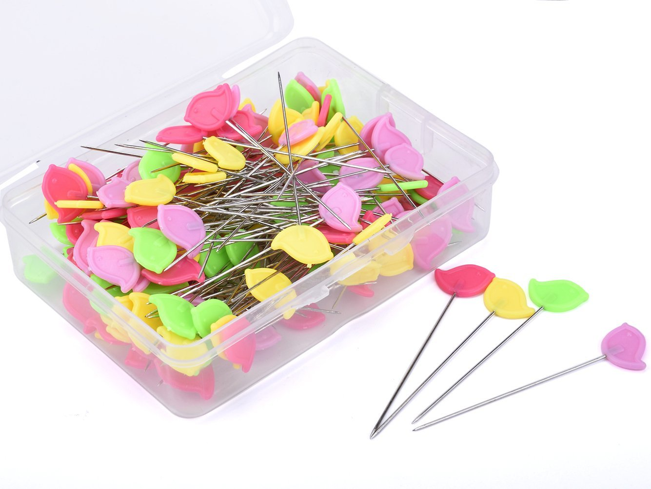Souarts Multicolor Patchwork Flower Head Pins with Box DIY Quilting Tool Sewing Accessories