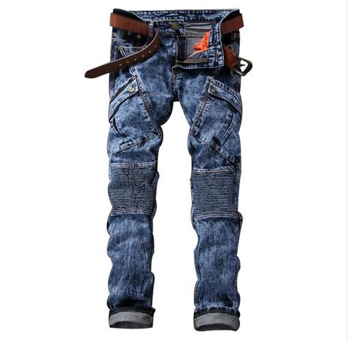 Idopy Ropa de Trabajo de Motocicleta Casual Multi Bolsillos Jeans Denim Biker Cargo