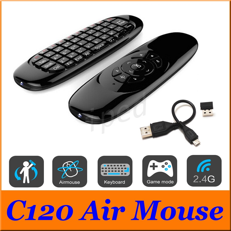 Color: Spanish Calvas Russian English C120 Fly Air Mouse 2.4G Mini Wireless Keyboard Rechargeable Remote Control for PC Android TV Box
