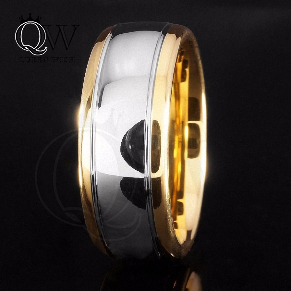 Queenwish-Men-Silver-Tungsten-Carbide-Ring-Dome-18K-Gold-8mm-Wedding-Band-Polished-Jewelry