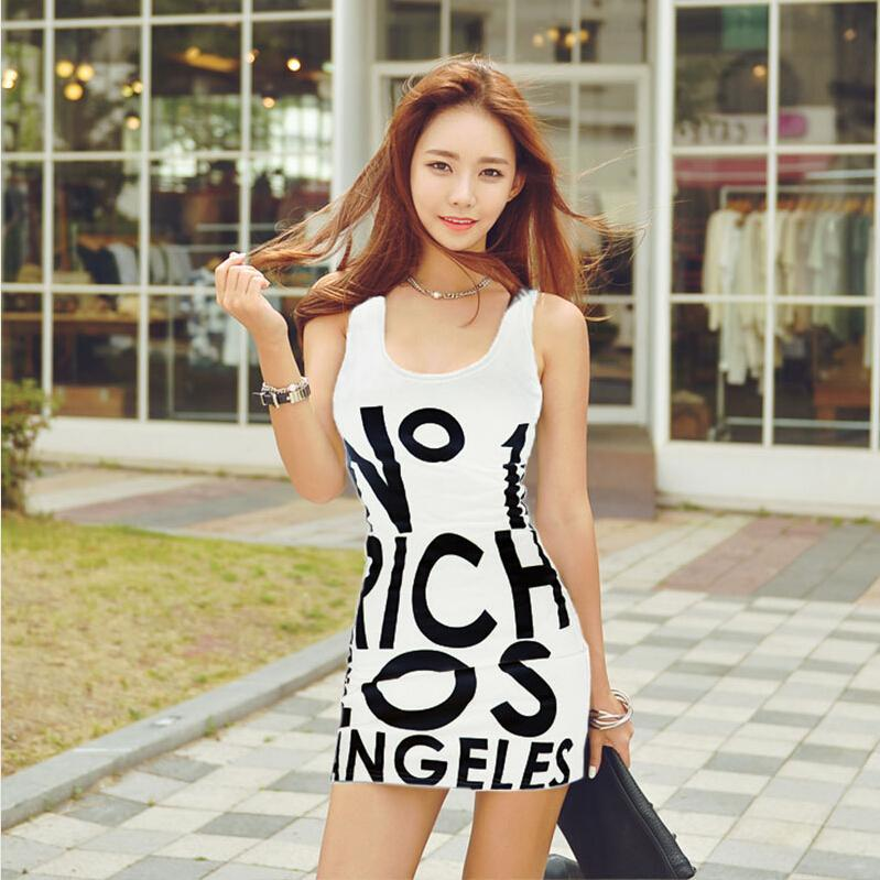Nice Sexy Night Club Dress Women Clothes Fashion Summer Low Cut Sleeveless Halter Vest Miniskirt Printing Letter Tight Dresses for Womens