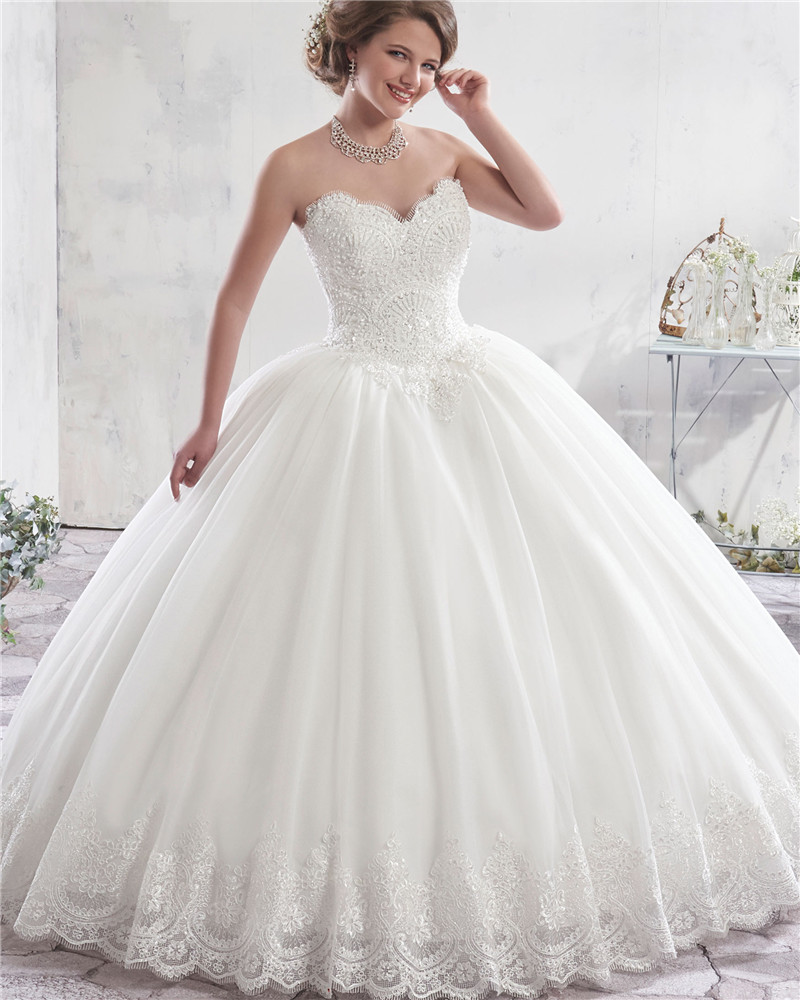 Fabulous Ivory Ball Gown Wedding Dress Lace Bridal Gowns