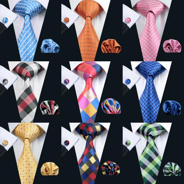 Fast Shipping Plaid Tie Set Series Tie Set for Men Classic Silk Hanky Cufflinks Jacquard Woven Wholesale Necktie Men's Tie Set