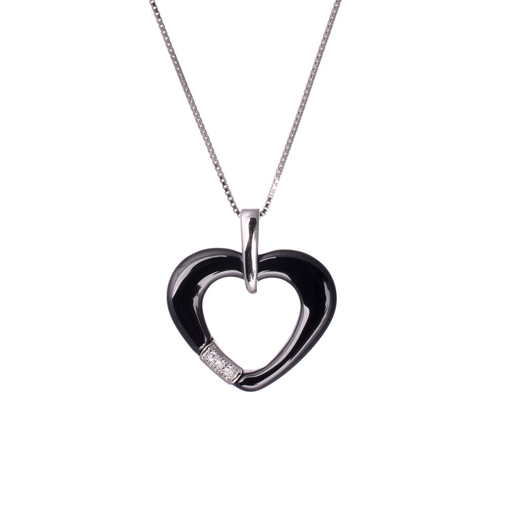 Vintage Necklace Jewelry Zircon Rhinestone Nano Ceramic Heart ...
