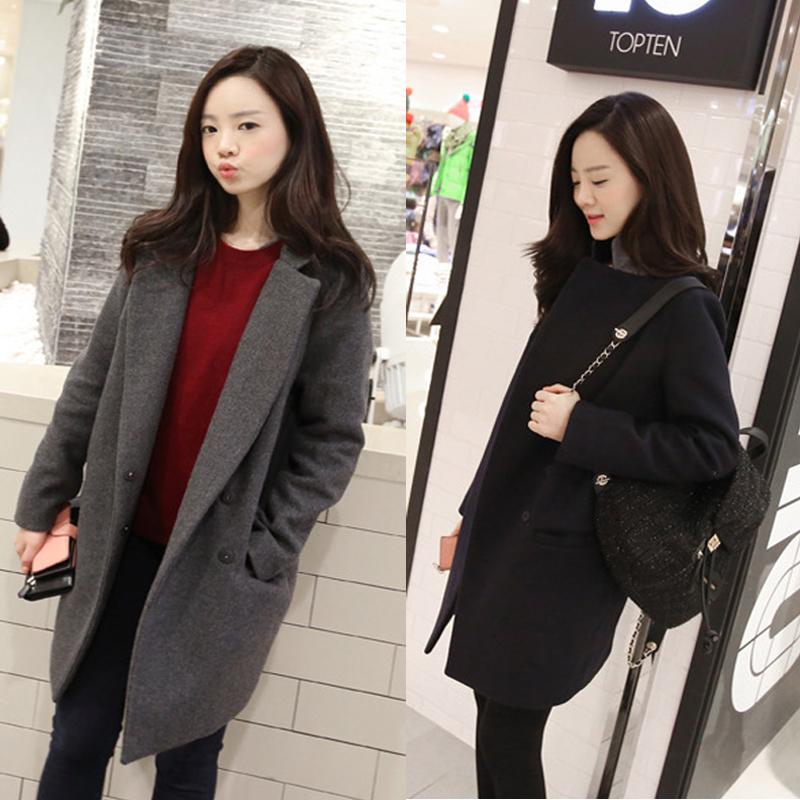 Autumn Winter Fashion Women Woolen Coat Single Button Long Jacket and Coat Wool&Blends Cashmere suit Coat Plus size