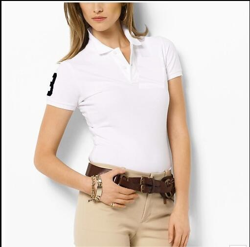 DHgate coupon: 2021 new M-XXL Women's Polos Shirt Big Horse crocodile camisa Solid Short Sleeve Summer Casual Camisas Polo womens good quality
