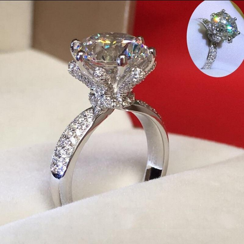 Moon Star 925 Argent Sterling De mariage Anneau Cristal Bleu Zircon Women Jewelry