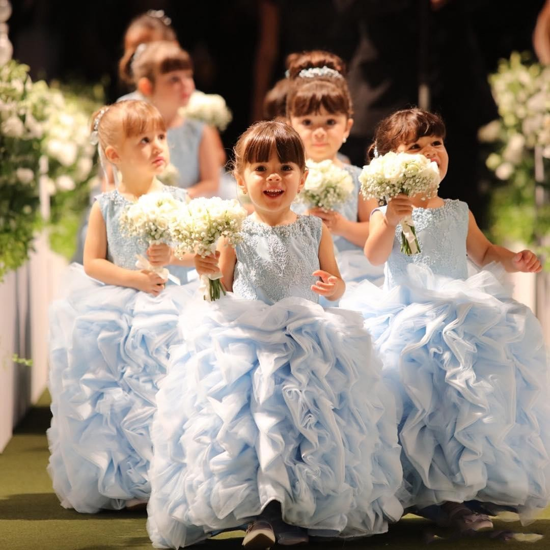 New Sky Bleu Fleur Fille Robes 3D Floral Appliques Étage Longueur Petites Filles Pageant Robe Perle Bateau Cou Enfants Formelle Robes