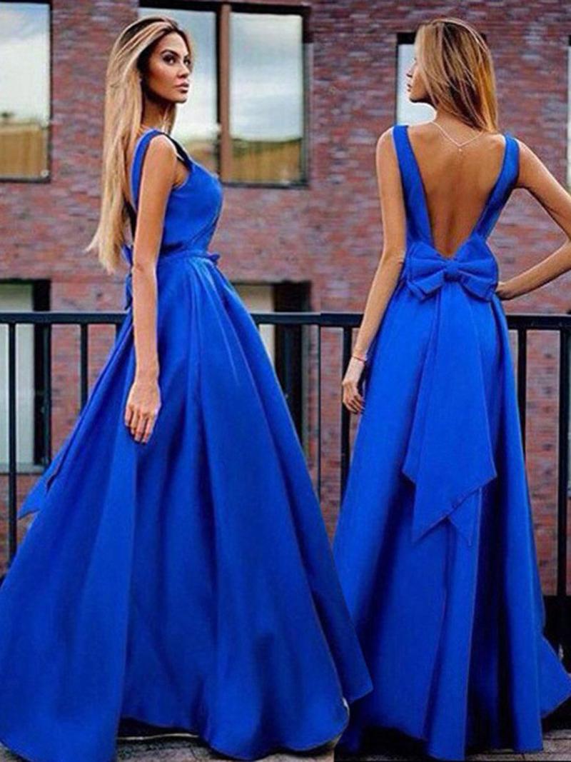 elegante royal blue abendkleider 2017 neue ankunft backless sweep zug lange  prom kleider mit großen bogen plus größe billig