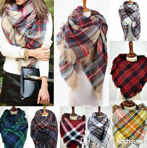 Womens Plaid Blanket Winter Scarf Cashmere Grid Warm Tartan Wrap Classic Shawl Scarves Thick Scarfs skull scarf