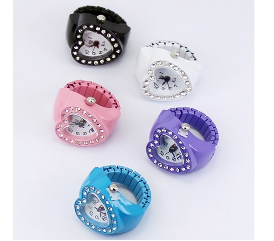 XRNB279-Ring Watch New Heart-shaped Ring Table Cheap Watches Women Watch Finger Watch Gift Table Candy Color Korean Fun Watches 30pcs/lot Drop Ship