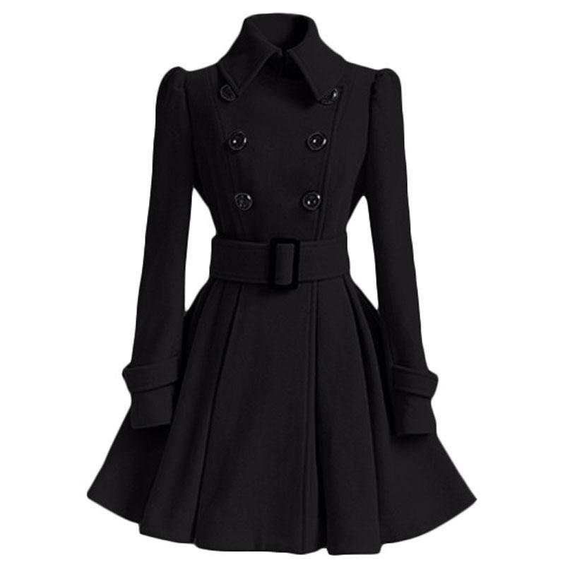 Wholesale-Winter Coat Women Europe Belt Buckle Turndown Collar Trench Coat Female Double Breasted Coat Casual Long Sleeve Dress Coats XXL