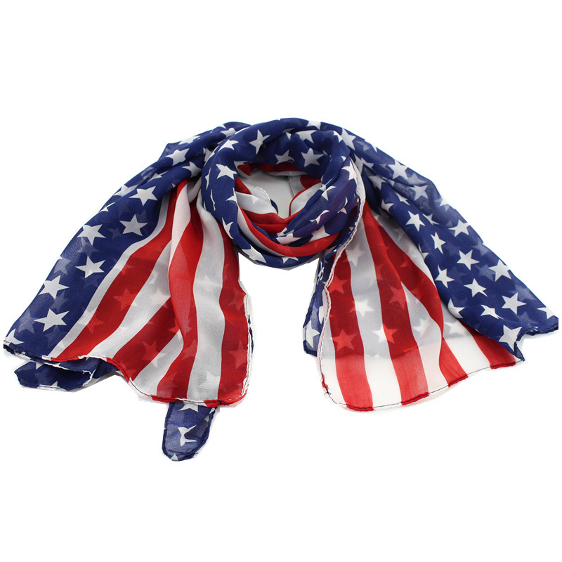 Punk Drapeau Américain Bleu Rouge Rock Etoiles Foulard Etats Unis