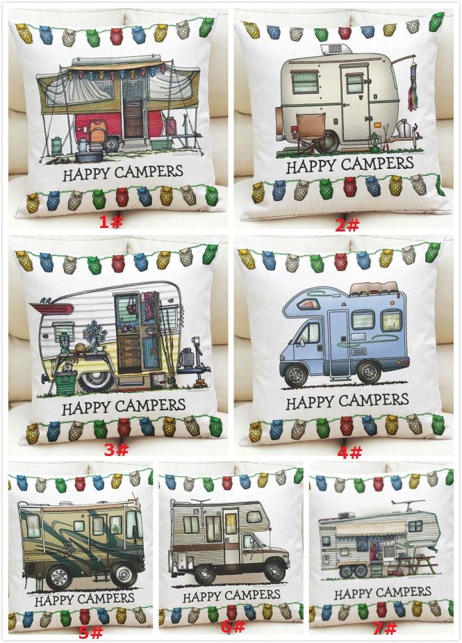 18 Happy Camper Leinen Sofa Taille Werfen Kissenbezug Kissenhülle Wohnkultur 1x