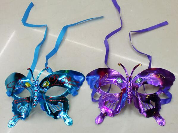 NEW Halloween mask children masquerade mask coloured drawing or pattern plating butterfly princess coloured DHL FREE