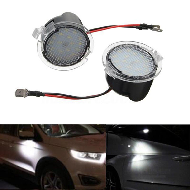 2x LED Side Rear View Mirror Puddle Lights For Ford C-Max Focus Kuga Mondeo Edge