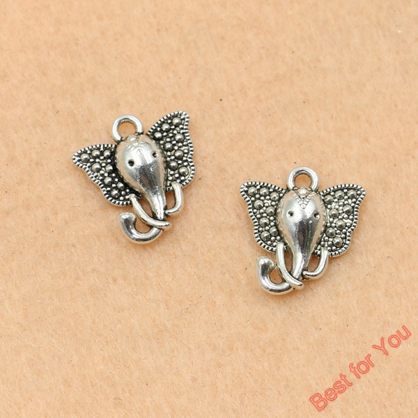 100pcs Tibetan Style Vintage Elephant Pendant Souvenir Jewelry Making Charm 14mm