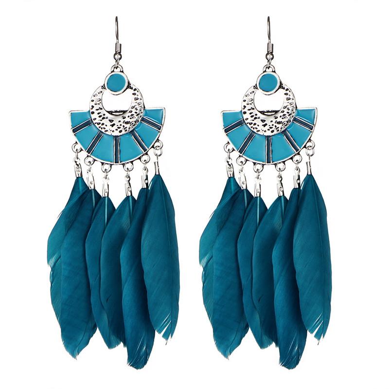 Vintage Dream Catcher Clip on Dangle Earrings for Girls Long Multi Feather Tassel Leaf Drop Jewelry