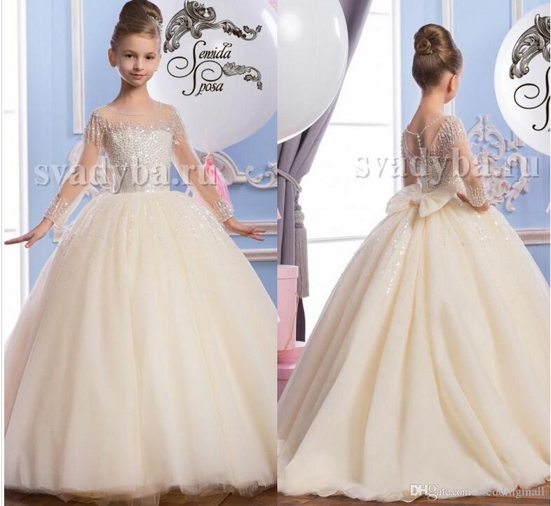2016 Sheer Neck Beaded Tulle Luxurious Arabic Flower Girl Dresses Vintage Child Pageant Dresses Beautiful Flower Girl Wedding Dresses