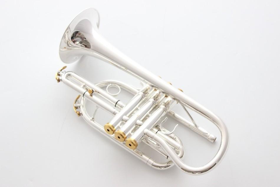 taiwan Bach Corneta Cornet bañado en plata B plano Bb trompeta profesional Instrumentos musicales principales Trompete de bronce corneta