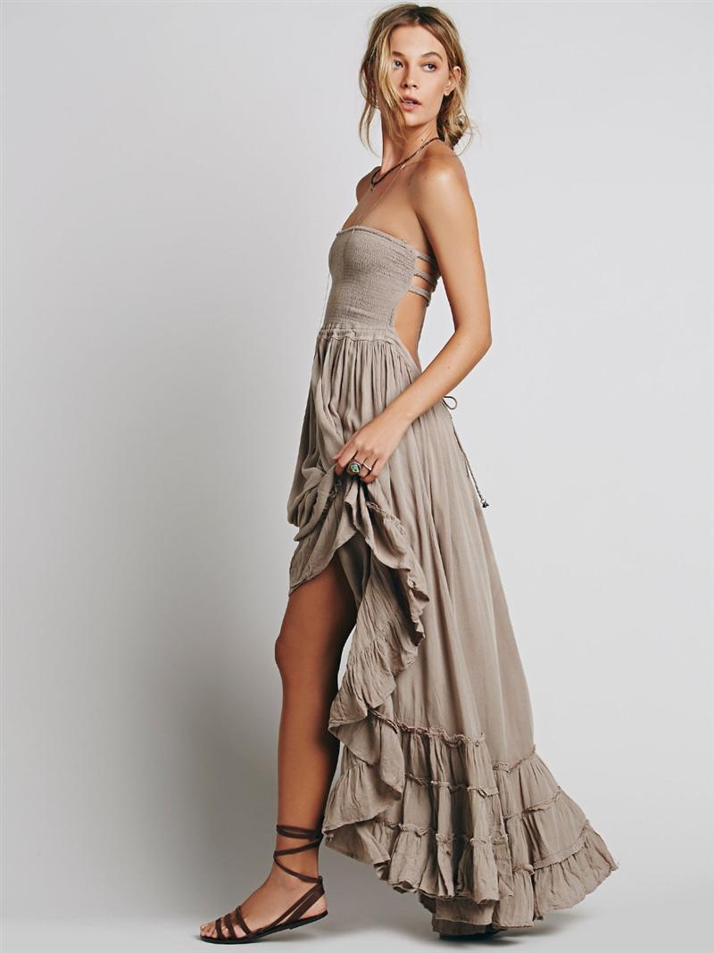 Wholesale Women Bandage Back Flamenco Dress Long Maxi Dress Gypsy ...