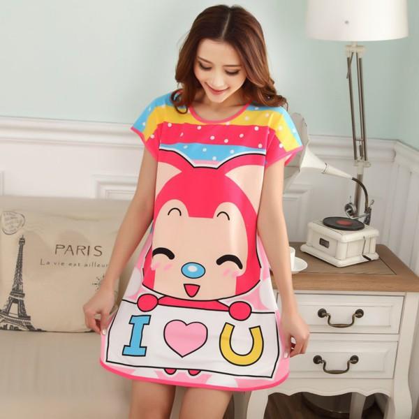 A set of Summer Sleepwear Cartoon Cow Women Nightwear Sleepshirt Nightshirt