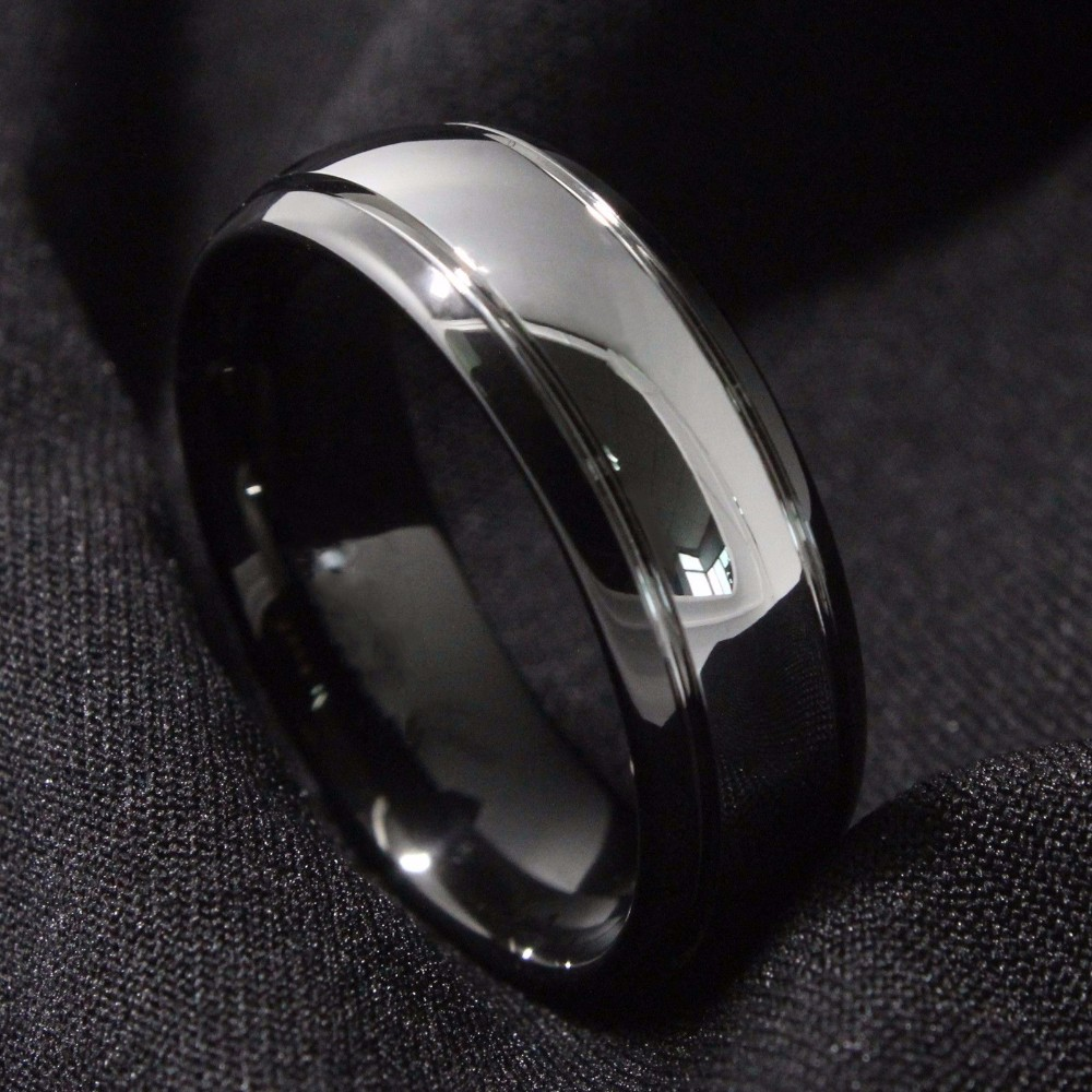 8mm-Dome-Black-Tungsten-Carbide-Ring-Mens-Wedding-Band-Bridal-Jewelry