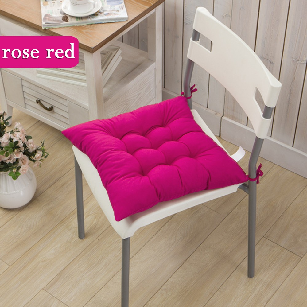 Free Shipping 40 40cm Chair Pad Cushion Pearl Cotton: Solid Cushion Mat Cotton Chair Seat Pads With Cord 40*40cm