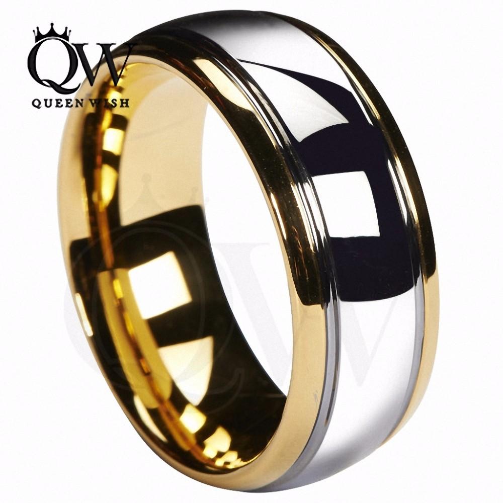 Queenwish-8mm-Tungsten-Carbide-Wedding-Band-Gold-Silver-Dome-Gunmetal-Bridal-Ring-Men-Jewelry