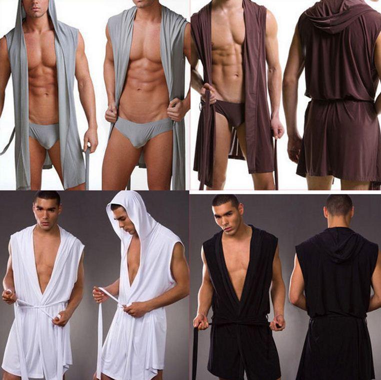 Wholesale-1pcs High Quality men robes bathrobe plus size Manview robe for man mens sexy sleepwear male kimono silk sleepwear