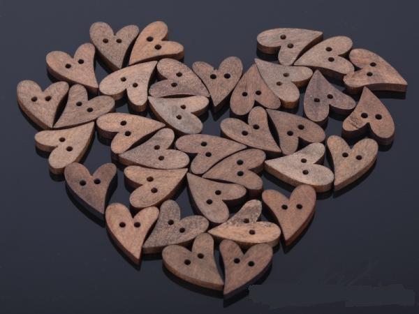 200pcs à rayures en bois à coudre Palm Shape Boutons 2 Trous Mixte Scrapbooking 18 mm
