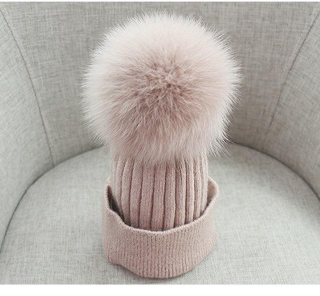 pom poms wool rabbit fur knitted hat Skullies winter hat for women girls hat feminino beanies hat (4)